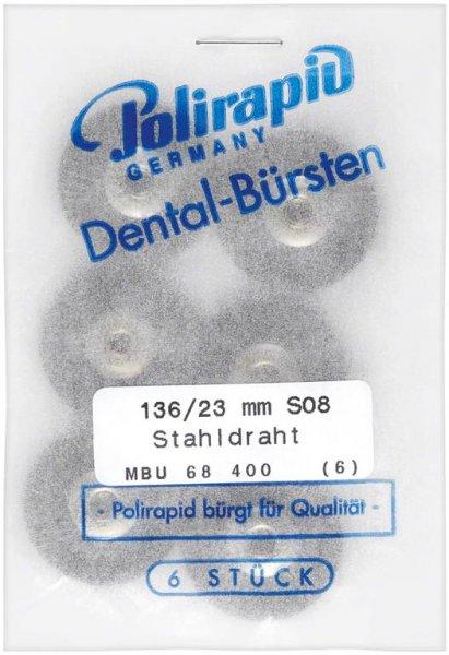 Miniaturbürste - Packung 6 Bürsten, Stahldraht 0,08 mm, Ø 23 mm, unmontiert von Polirapid