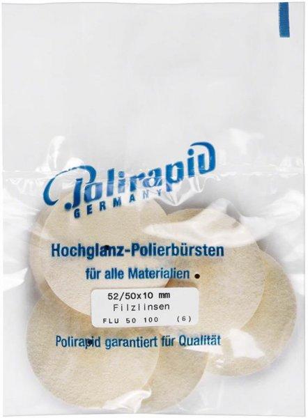 Filzlinse - Packung 6 Filzlinsen 52/50 x 10 mm von Polirapid