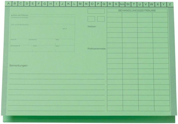 Karteimappe A5/D70 - Packung 100 Mappen grün von Beycodent