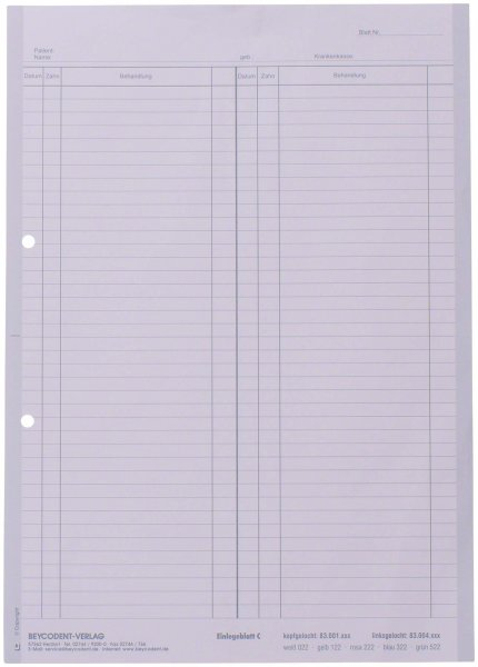 Einlegeblatt - Packung 1.000 Blatt weiß C, linksgelocht von Beycodent