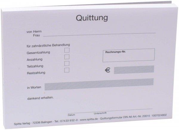 Formulare - Block 100 Blatt Quittung für zahnärztliche Behandlung weiß, ... von Spitta Verlag