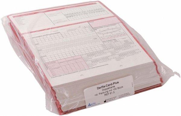 Derfla-Card-Plus - Packung 100 Doppelkarten rot von Becht