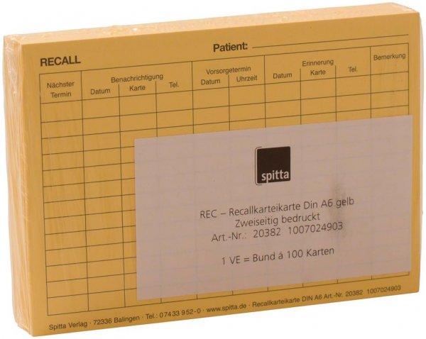 REC Recallkarteikarte - Packung 100 Karteikarten von Spitta Verlag