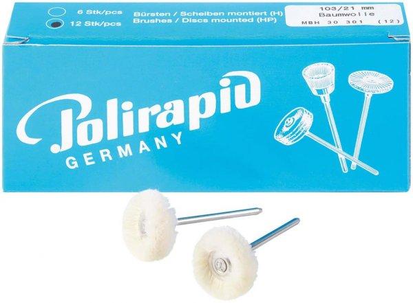 Miniaturbürste - Packung 12 Bürsten Baumwollgarn, Ø 21 mm von Polirapid