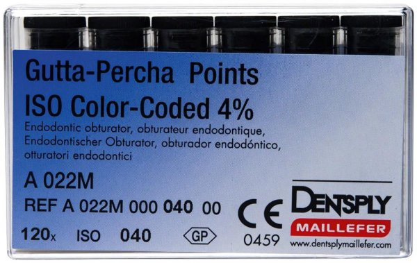 Gutta-Percha Spitzen - Packung 120 Stück Taper.04 ISO 040 von Dentsply Sirona