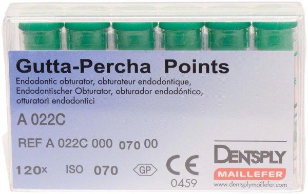 Guttapercha-Spitzen rosa - Packung 120 Stück rosa, Taper.02 ISO 070 von Dentsply Sirona