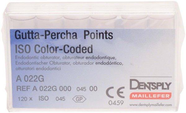 Gutta-Percha Spitzen - Packung 120 Stück Taper.02 ISO 045 von Dentsply Sirona