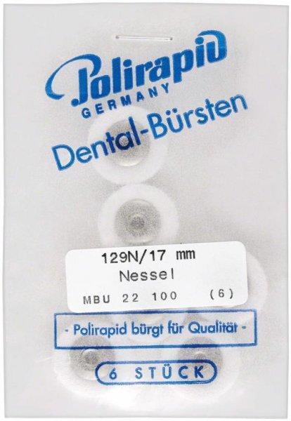 Miniaturbürste - Packung 6 Bürsten, Nessel, Ø 17 mm, unmontiert von Polirapid