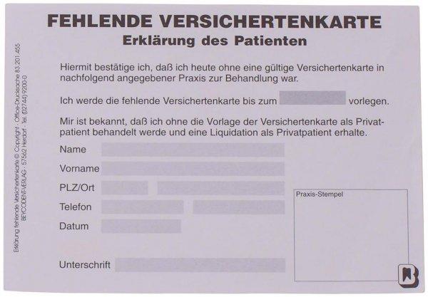 Erklärung fehlende Versichertenkarte - Packung 100 Karten von Beycodent