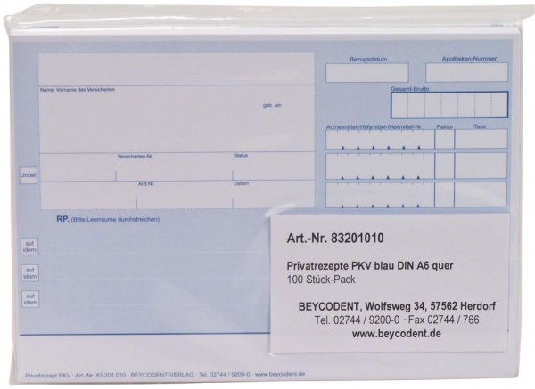 Privatrezepte der PKV - Block 100 Rezepte blau von Beycodent