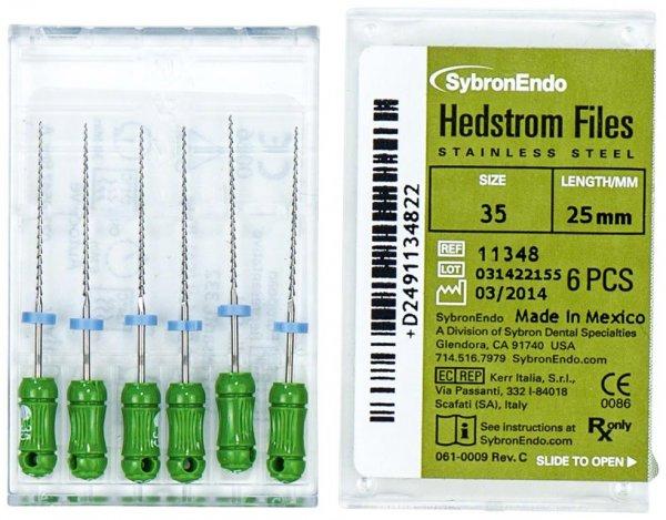 Hedströmfeilen - Packung 6 Feilen 25 mm ISO 035 von SybronEndo