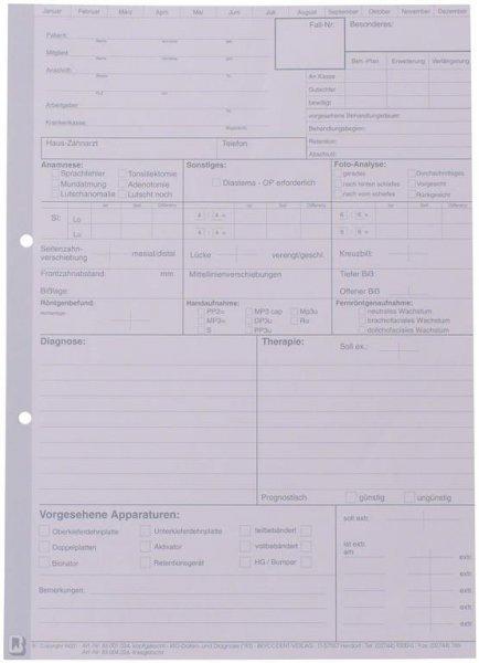 Einlegeblatt KFO - Packung 100 Blatt, linksgelocht von Beycodent