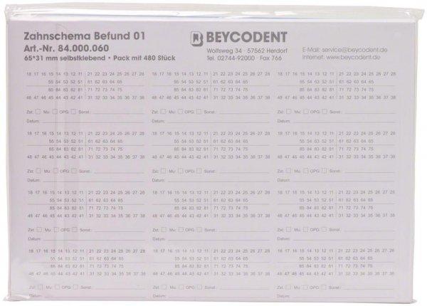 Zahnschema Befund - Packung 480 Etiketten 64 x 30 mm von Beycodent