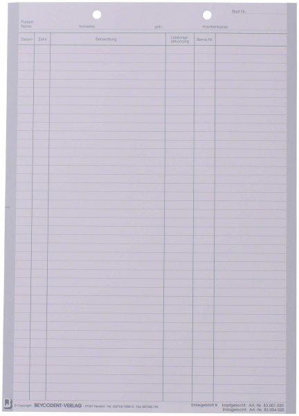 Einlegeblatt - Packung 1.000 Blatt weiß B, kopfgelocht von Beycodent
