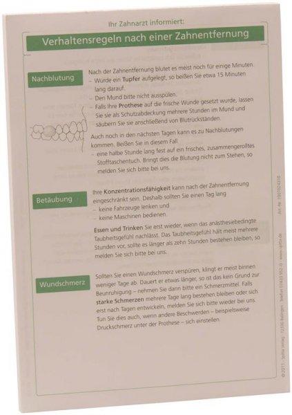Patientenmerkblatt Zahnentfernung - Block 100 Blatt von Spitta Verlag