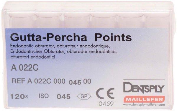 Guttapercha-Spitzen rosa - Packung 120 Stück rosa, Taper.02 ISO 045 von Dentsply Sirona
