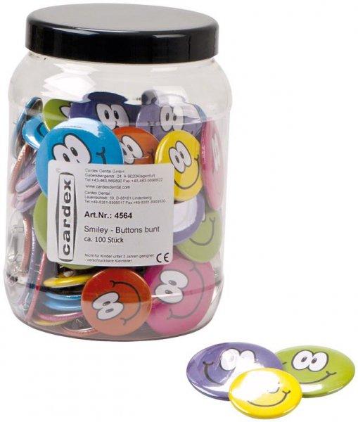 Smiley-Buttons - Box 100 Stück, Ø 38 mm, Ø 50 mm von Cardex Dental