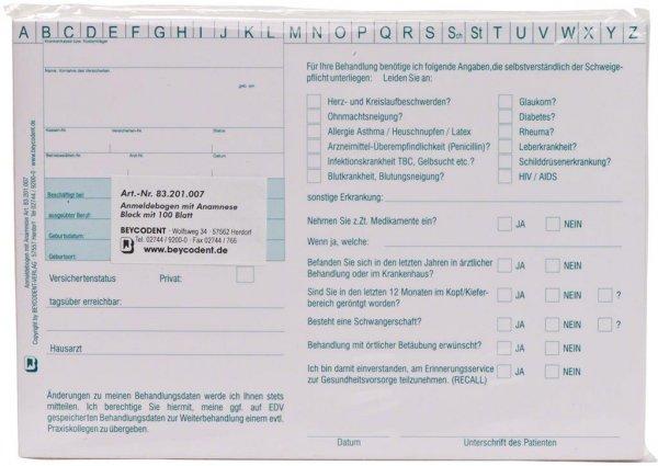 Anmeldebogen A5 - Block 100 Bögen von Beycodent
