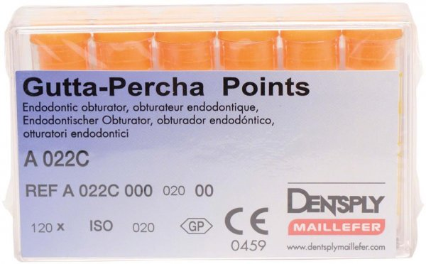 Guttapercha-Spitzen rosa - Packung 120 Stück rosa, Taper.02 ISO 020 von Dentsply Sirona