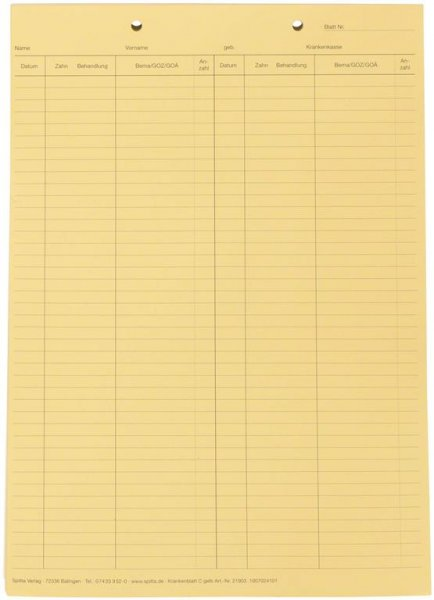 Krankenblatt C - Block 100 Blatt gelb von Spitta Verlag