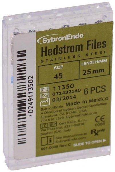 Hedströmfeilen - Packung 6 Feilen 25 mm ISO 045 von SybronEndo