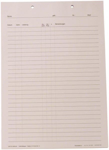 Krankenblatt U - Block 100 Blatt von Spitta Verlag