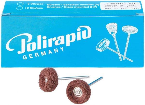 Miniaturbürste - Packung 12 Bürsten, 2 Scheiben 3M Scotch-BriteT grob, Ø 21 m ... von Polirapid