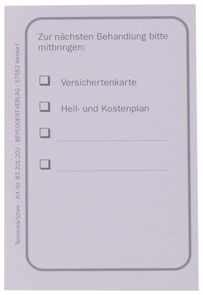 Terminkärtchen neutral - Block 100 Karten 56 x 85 mm von Beycodent