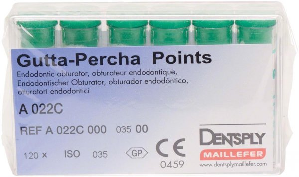 Guttapercha-Spitzen rosa - Packung 120 Stück rosa, Taper.02 ISO 035 von Dentsply Sirona