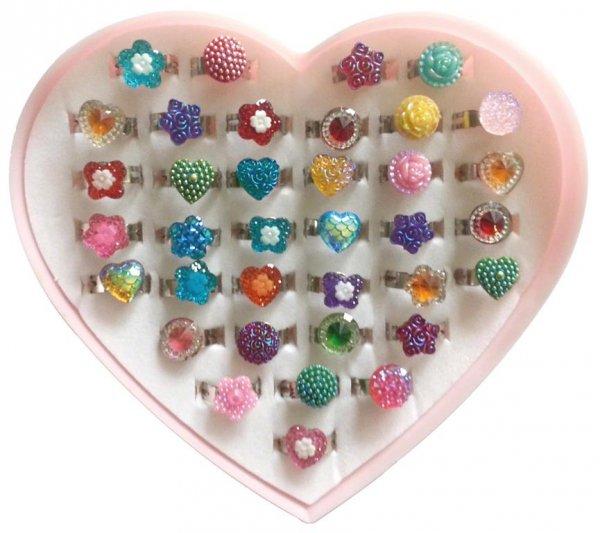 Ringe - Herzbox 36 Ringe für Mädchen, verschiedene Motive von MirusMix