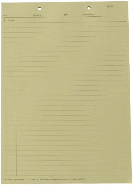 Krankenblatt M1 - Block 100 Blatt grün, kopfgelocht, A5 von Spitta Verlag