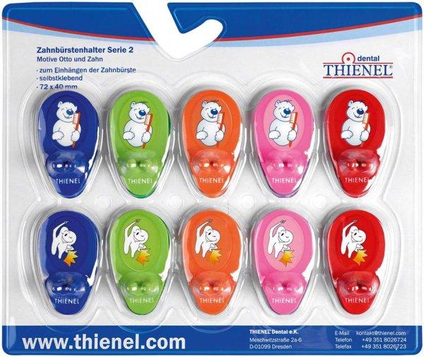 Zahnbürstenhalter - Packung Serie 2 (5 x Zahn, 5 x Bär) von THIENEL Dental