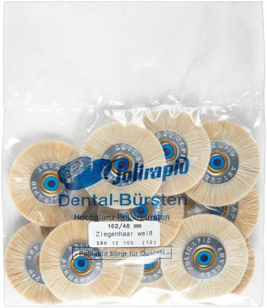 Schmalbürste - Packung 12 Bürsten mit Kunststoffzentrum, Ziegenhaar weiß, Ø ... von Polirapid