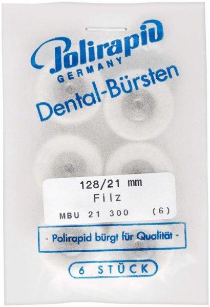 Miniaturbürste - Packung 6 Bürsten, Filz, Ø 21 mm, unmontiert von Polirapid