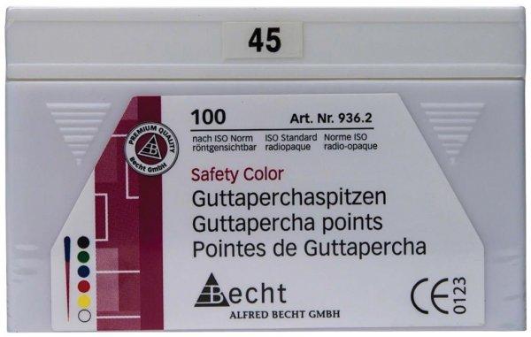 Guttaperchaspitzen Safety Color - Packung 100 Stück ISO 045 von Becht