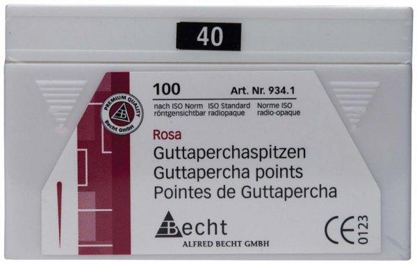Guttaperchaspitzen rosa - Packung 100 Stück ISO 040 von Becht