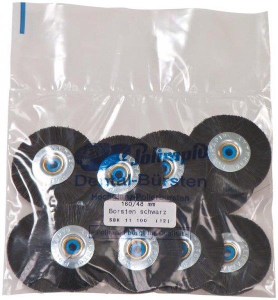 Schmalbürste - Packung 12 Bürsten mit Kunststoffzentrum, Borste schwarz, Ø ... von Polirapid