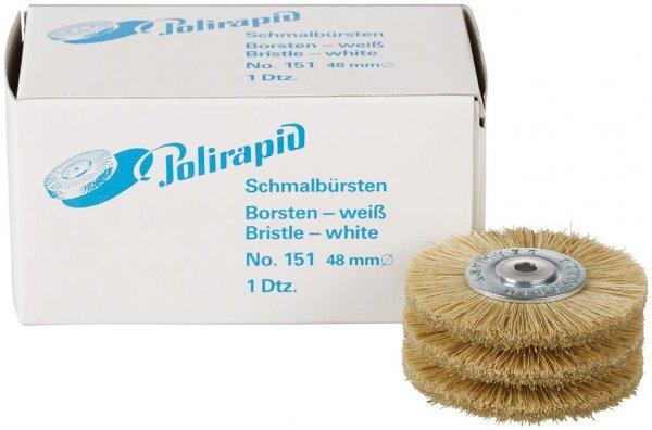 Schmalbürste - Packung 12 Bürsten mit Aluzentrum, Borste weiß, Ø 48 mm von Polirapid