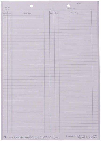 Einlegeblatt - Packung 1.000 Blatt weiß C, kopfgelocht von Beycodent