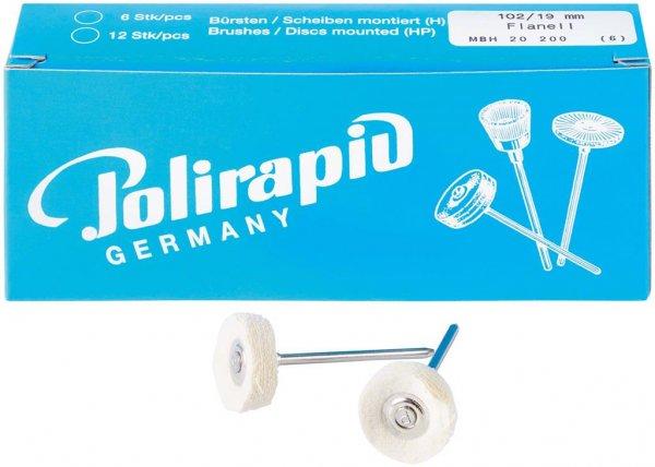 Miniaturbürste - Packung 6 Bürsten, Flanellstoff, Ø 19 mm von Polirapid