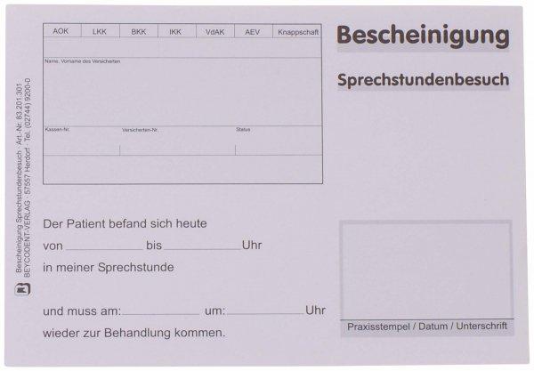 Bescheinigung über Sprechstundenbesuch - Block 100 Blatt von Beycodent