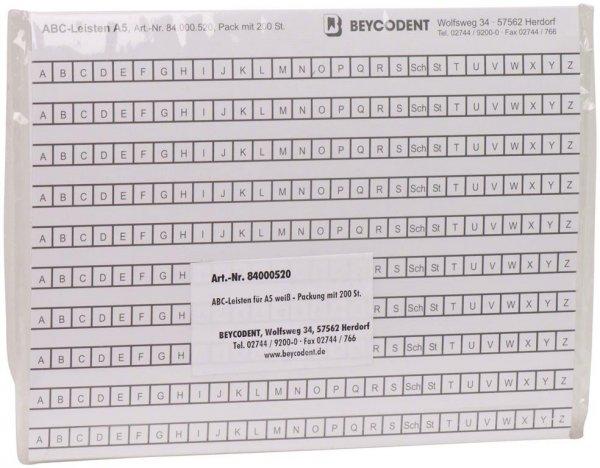 ABC-Leisten - Packung 200 Leisten weiß von Beycodent