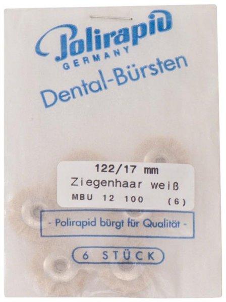 Miniaturbürste - Packung 6 Bürsten, Ziegenhaar weiß, Ø 17 mm, unmontiert von Polirapid