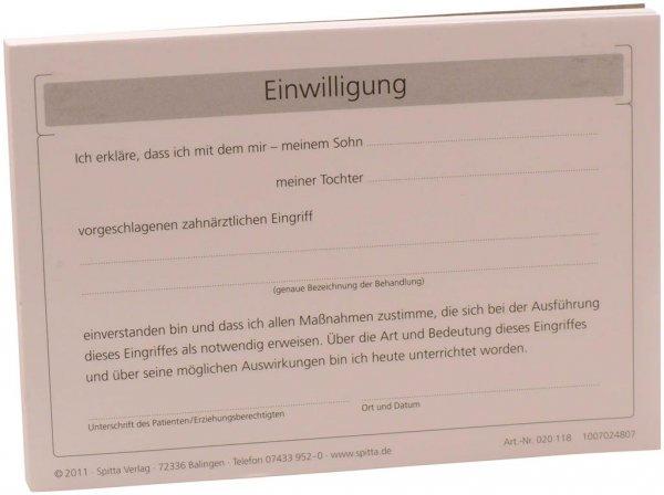 Formulare - Block 100 Blatt Einwilligung Ärztlicher Eingriff weiß, A6 von Spitta Verlag