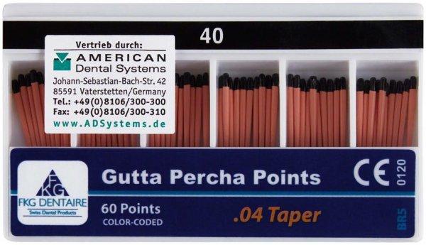 FKG Gutta Percha - Packung 60 Stück Taper.04 ISO 040 von American Dental