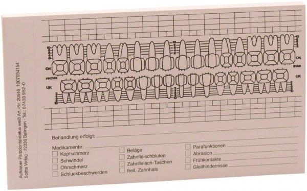 Befundaufkleber - Block 50 Befundaufkleber Parodontalstatus von Spitta Verlag
