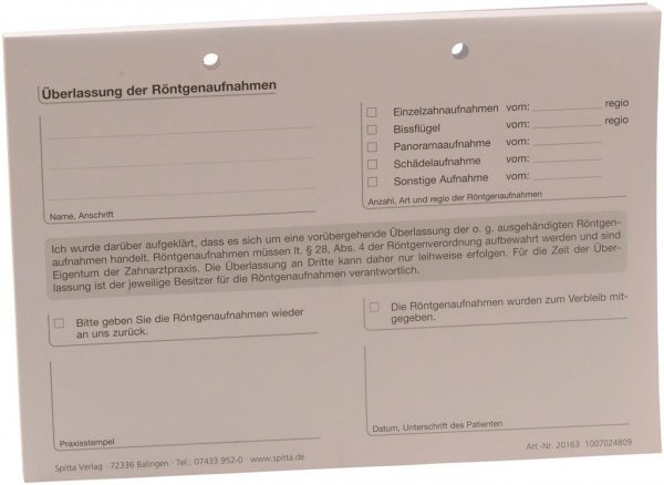 Formulare - Block 100 Blatt Überlassung Röntgenaufnahmen weiß, A5 von Spitta Verlag