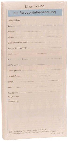 Einwilligung zur Parodontalbehandlung - Packung 50 Blatt von Spitta Verlag