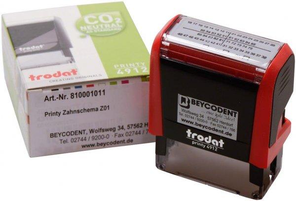 Zahnschema Z01 - Stück Printy Stempelautomat rot von Beycodent