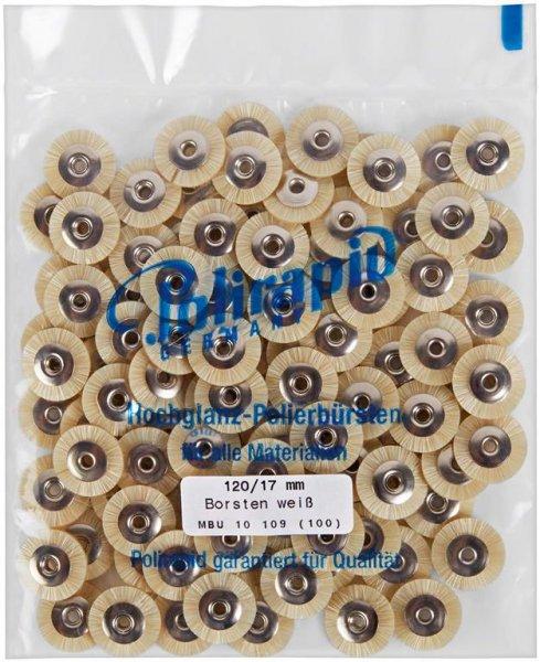 Miniaturbürste - Packung 100 Bürsten, Borste weiß, Ø 17 mm, unmontiert von Polirapid